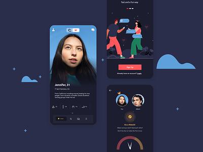 Dating App - Dark clean darkui dark datingdark dating app dating branding illustration mobile ui design app minimal