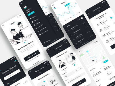 Fumu - Making Shipping Easy illustration track clean ui delivery app delivery shipment shipping package