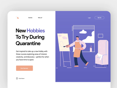 Courses Landing Page Interaction website design clean interaction website design illustration landing page minimal