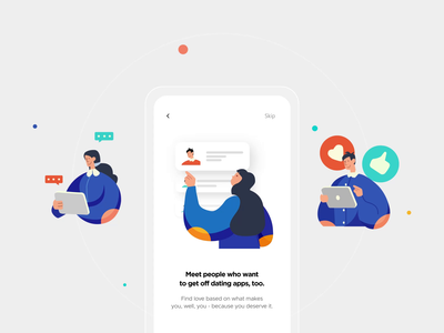 Dating App Onboarding Interaction vector design minimal illustrations clean mobile ui mobile datingapp dating interaction