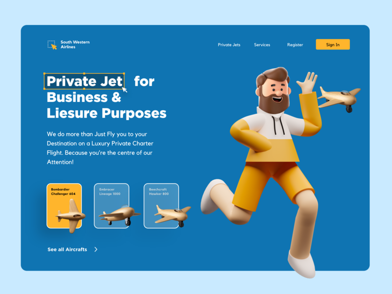Landing Page : : Private Jet airline flight jet character 3d web website landing page clean illustration mobile ui app design minimal