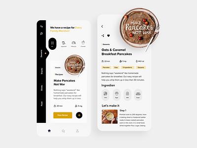 Recipe App recipe book food recipe clean illustration mobile ui app design minimal