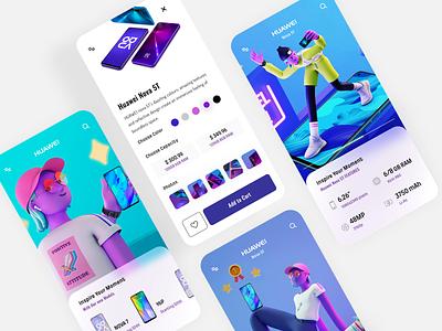 Huawei App Design shop buy colorful clean design app mobile 3d illustration leo natsume huawei design minimal