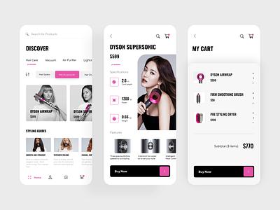 Dyson e-commerce App clean hair shop e-shop e-commerce app ecommerce buy dyson