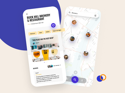 Spot Finder App appdesign uiux mapping colorful clean food and drink find map restaurant locate finder spot