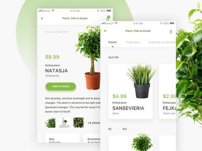 Plant Shop Mobile App card product eshop white green clean ux ui shop plant ios app