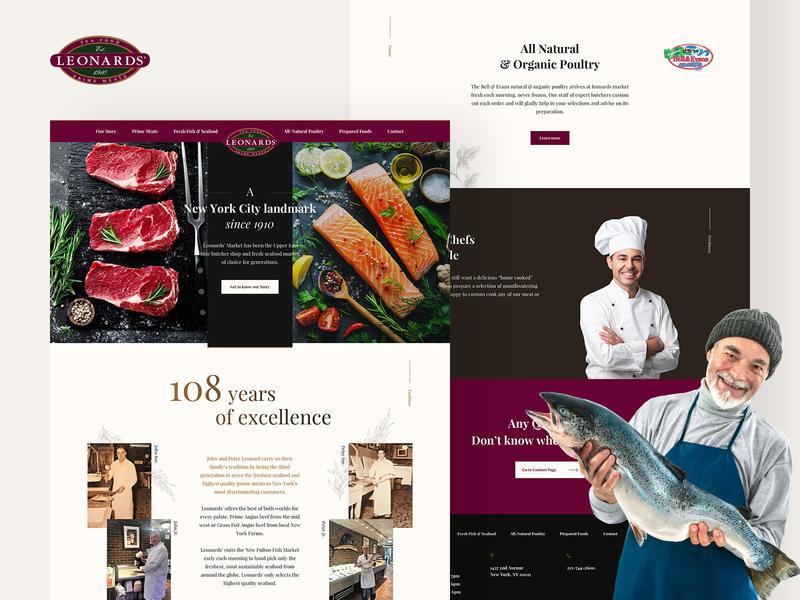 Leonards Market landing shop fish meat responsive butcher typography design web ux clean ui
