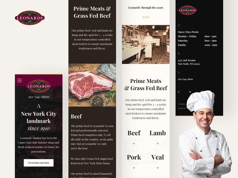 Leonards Market Mobile shop page white mobile landing ui typography product design clean web