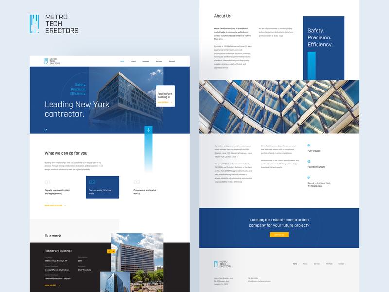 Metro Tech Erectors page ui ux web typography mobile landing product blue design white clean