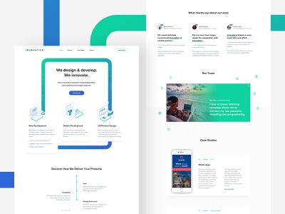 Innovatica product green ux ui typography mobile page landing blue design white clean web