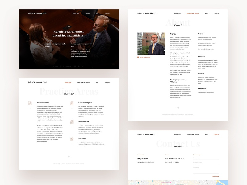 Robert W. Sadowski PLLC page landing typography ui ux clean design white web