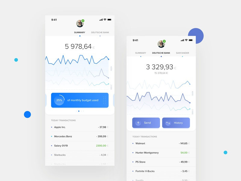 PSD2 Mobile Banking App balance mobile product design clean ux ui banking app banking psd2