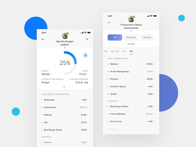 PSD2 Mobile Banking App transactions psd2 history budget banking app product design clean ux ui