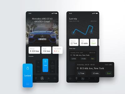 Mercedes Me App iot smart mercedes benz car mercedes white product app design clean ui ux