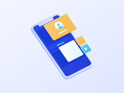 Product Design Illustration unique undonedsgn creative identity play button profile phone popup animation eps png sketch illustrator figma app svg vector flat icons blue gradient mockup mobile isometric