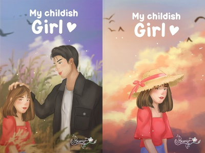 """Illustration Cover Book """"My Childish Girl"""" design art direction coverbook character painting illustration digital painting digital art concept art"""