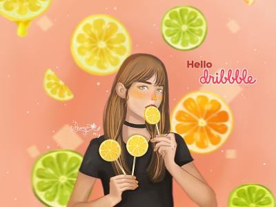 Hello Dribbble! with lemon illustration women design art painting concept art digital art digital painting character design illustration