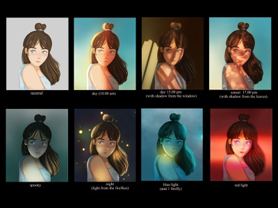 Studying Lighting (potrait) color mood study lighting mood cinematic digital painting digital art design art color grading painting illustration concept art character