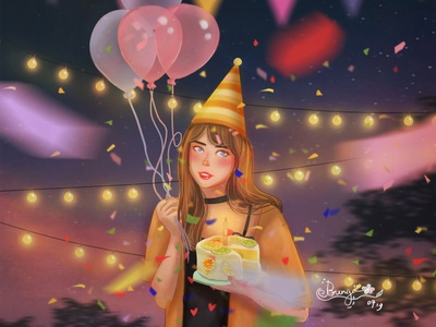 Happy birthday to me! ✦ birthday art cinematic color mood painting art direction color grading character illustration digital painting digital art concept art