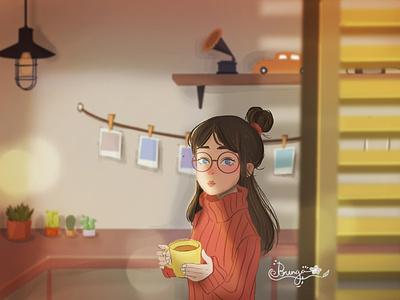 Morning coffee ☕ art color mood painting art direction color grading character illustration digital painting digital art concept art