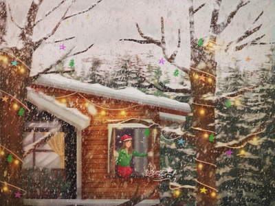 Winter christmas in New Zealand cinematic color mood color grading art direction character painting illustration digital painting digital art concept art