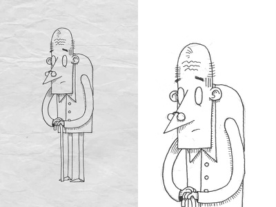 Character sketch 3 fast hand draw pencil glasses grandpa old man character design 2d character design illustration
