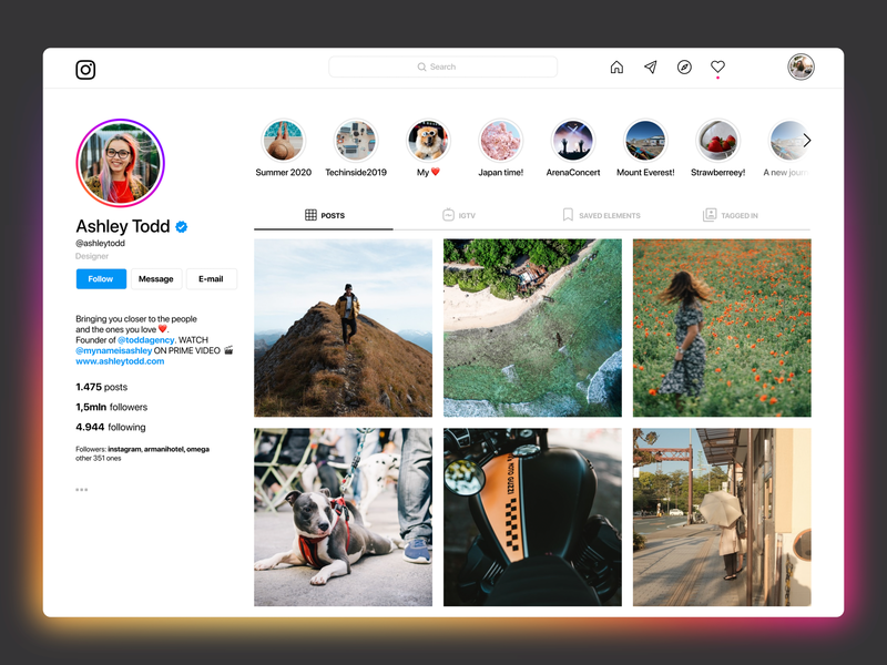 Instagram - profile page layout profile page desktop facebook web product design cleanui ui design interface web design design profile ui instagram