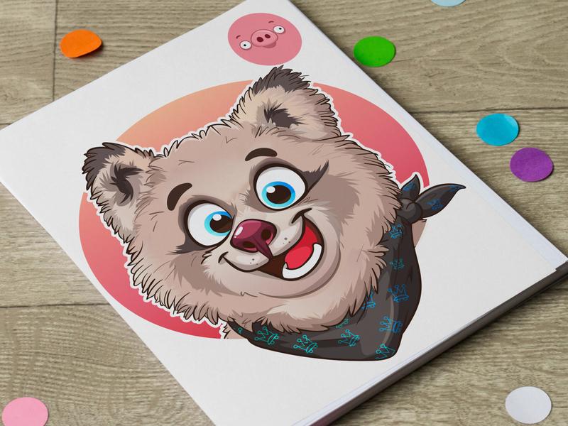 Cartoon portrait of a Cute Cat digital illustration branding custom mascot character freestyle vector beehaya cartoon portrait cat cute
