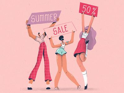 Summer Sale animation cel animation traditional animation frame by frame art direction design character design illustration 2d