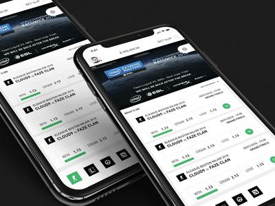 Esports Betting UI sketch invision app mobile design web prototype ui ux casino betting esports