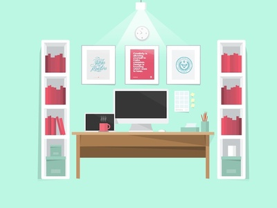Dribbble Days / 2 / Illustration: My Office and Desk