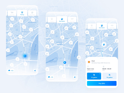 Concept of Map Service payment app tow truck fastfood parking app gas station app design concept mapbox map animación principle interaction animation