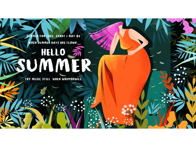 summer design green banner poster fashion model forest orange summer illustration