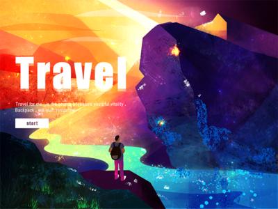 Travel moutain fashion start blue orange travel illustration banner
