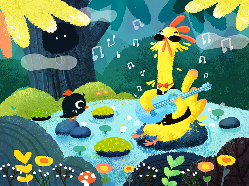Listen to music blue animal chicken forest banner music illustration