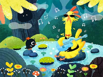 Listen to music blue animal chicken forest banner music illustration