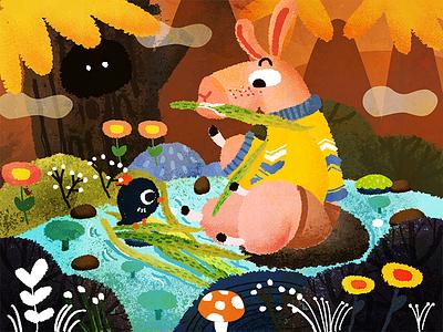 Donkey orange autumn lake conkey forest banner design illustration