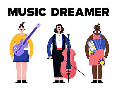 music dreamer yellow start music blue human illustration banner