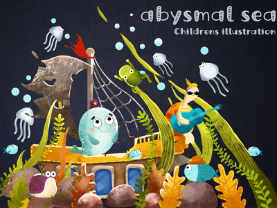 Childrens illustration tortoise sea illustration aquatic weed whale fish ocean childrens illustration