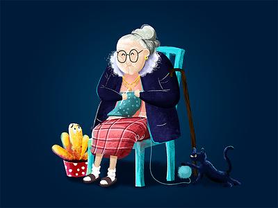 grandmother blue illustration for children knit a sweater botany cat the elderly illustration