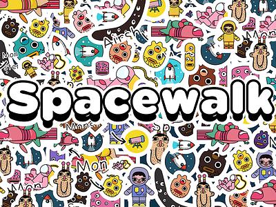 doodle universe banner astronaut spacewalk illustration