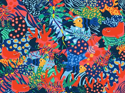Sea plant botany fish packing orange forest sea illustration