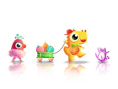 the small wild animals monster pumpkin cat dinosaur banner illustration