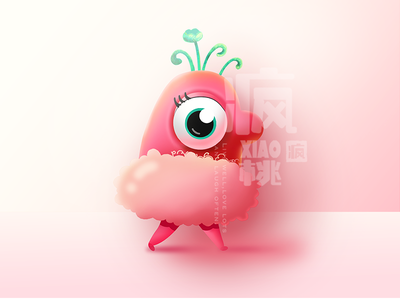 Country monster——Chick pink girl country monster chick illustration