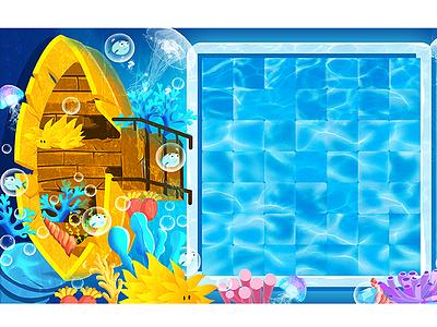 Underwater world underwater fashion ship illustration