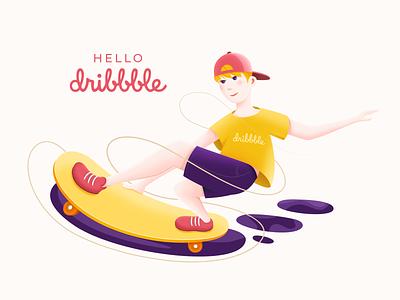 Hello Dribbble skateboard graphics people skateboarding skateboard photoshop flat design vector illustration