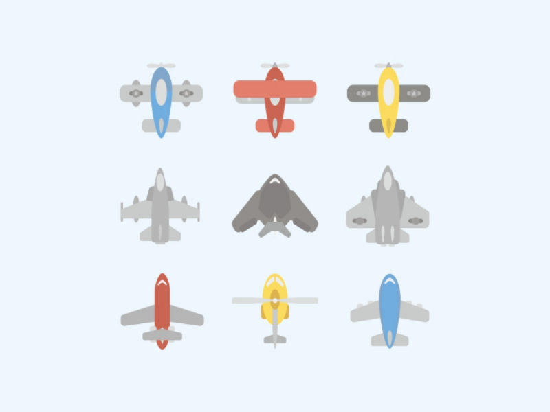 Flat Design Aircraft with Cute Pattern Style wings helicopter plane elements decorative cute set icon icons aircraft illustrations design flat