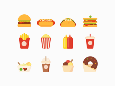 Fast Food Flat Design style, make you feel hungry