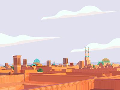Yazd windcatchers windcatchers building ventilation persian architectural traditional train tourist yazd city illustration iran