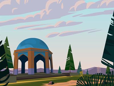 Shrine of Bojnourd martyrs flat design vector tree color iran shrine illustration flat